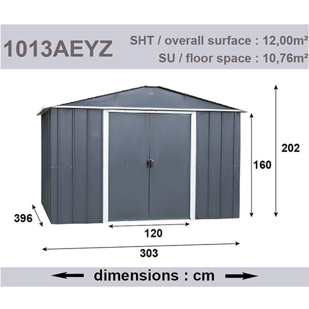Abri de jardin métal 12 m² Ep. 0,30 mm Yardmaster Colis 1: 190x75x15 ...