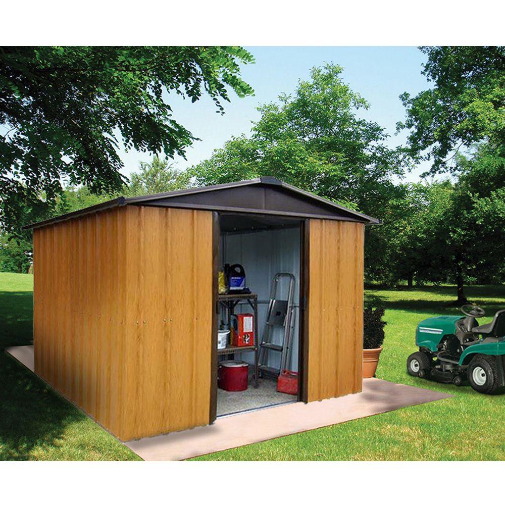 petit abri de jardin m tal aspect bois 4 38 m ep 0 30 mm yardmaster 206x75x15 cm gamm vert. Black Bedroom Furniture Sets. Home Design Ideas