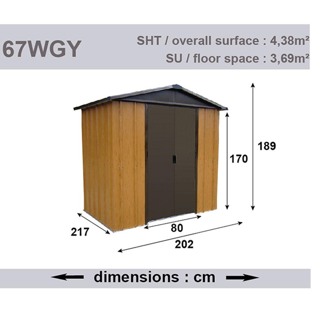 Petit abri de jardin m tal aspect bois 4 38 m ep 0 30 mm yardmaster 206x75x15 cm gamm vert - Abri de jardin yardmaster m strasbourg ...