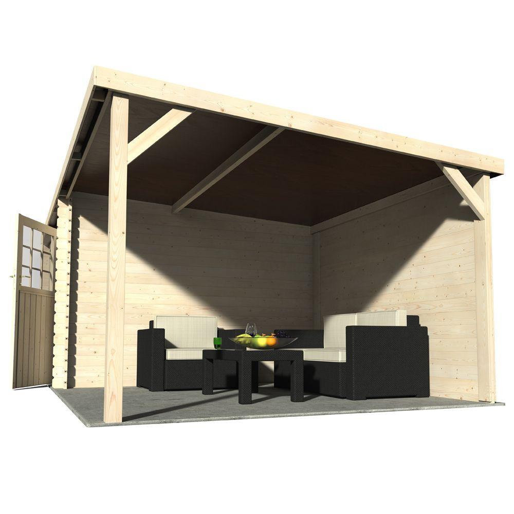 Abri de jardin bois toit plat + auvent 18,31 m² Ep. 28 mm Eden L 330 ... 1fd55145b1e9
