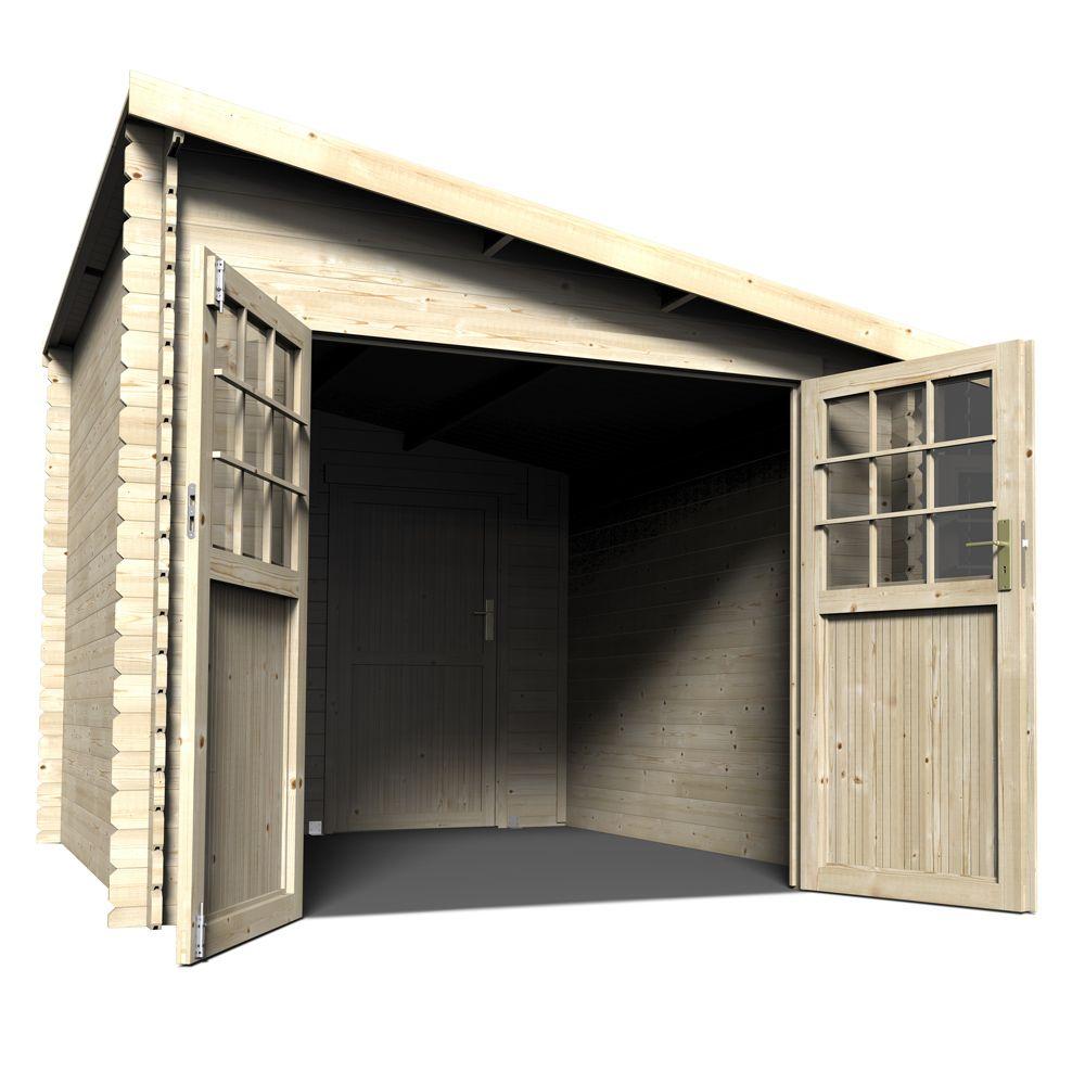Abri de jardin adossable bois 9,59 m² Ep. 28 mm Esprit - Gamm Vert
