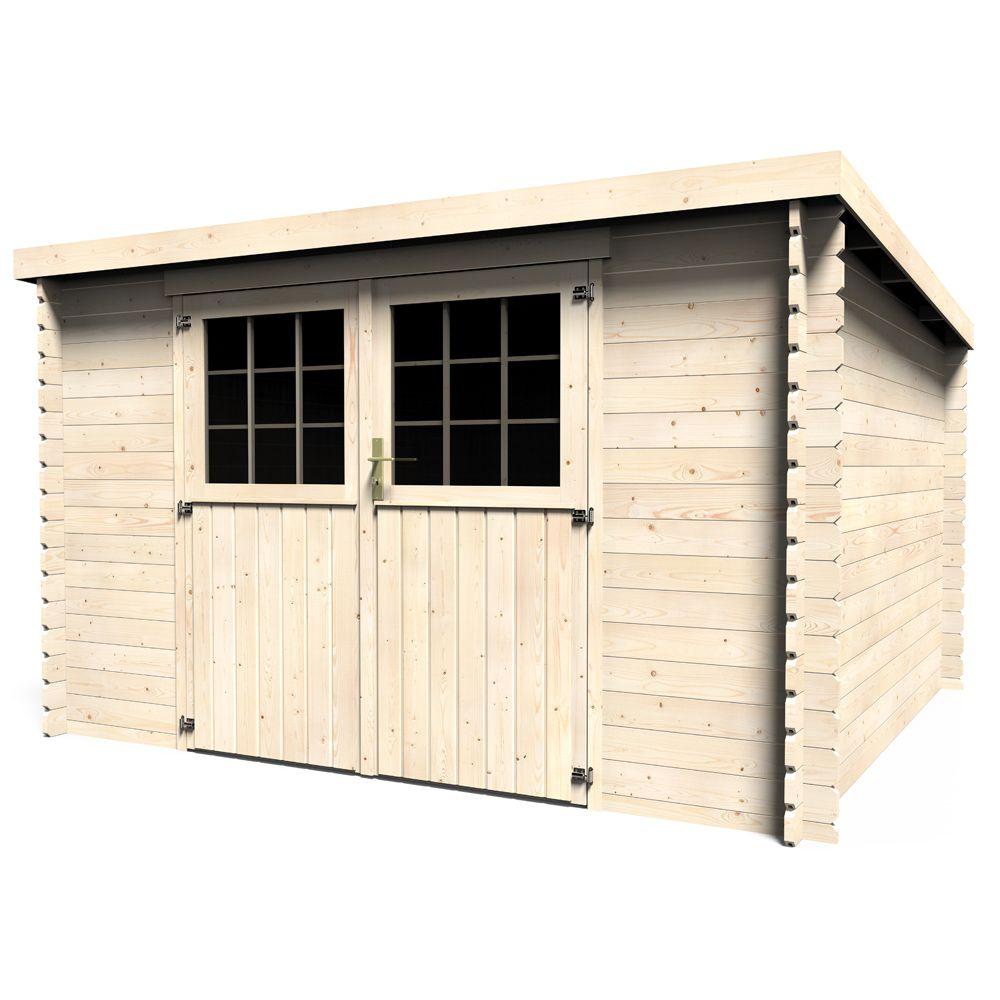 Abri de jardin bois 9,90 m² Ep. 28 mm toit plat Elan L: 330 x l ...