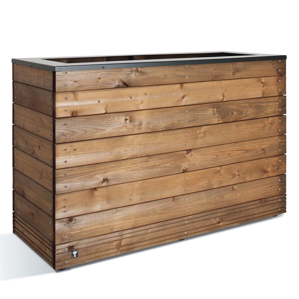 bac à fleurs muret bois traité autoclave/acier l120 h76 cm
