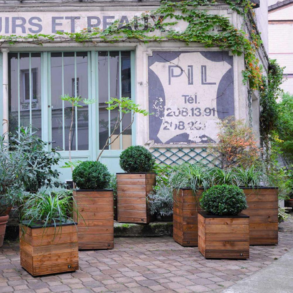 bac fleurs muret bois trait autoclave acier l120 h76 cm. Black Bedroom Furniture Sets. Home Design Ideas