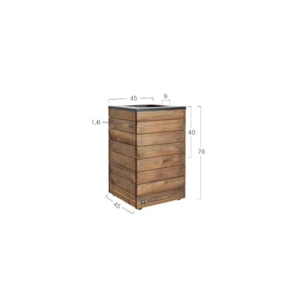 bac fleurs bois trait autoclave acier l45 h76 cm. Black Bedroom Furniture Sets. Home Design Ideas