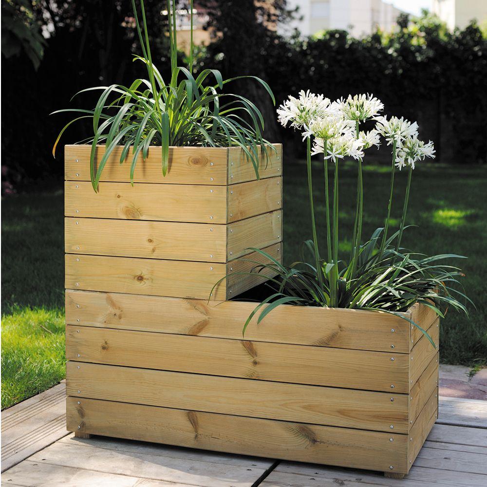 Bac A Plantes Aromatiques se rapportant à bac � fleurs bois trait� l80 h39,5 cm essencia 80x40x39.5 cm