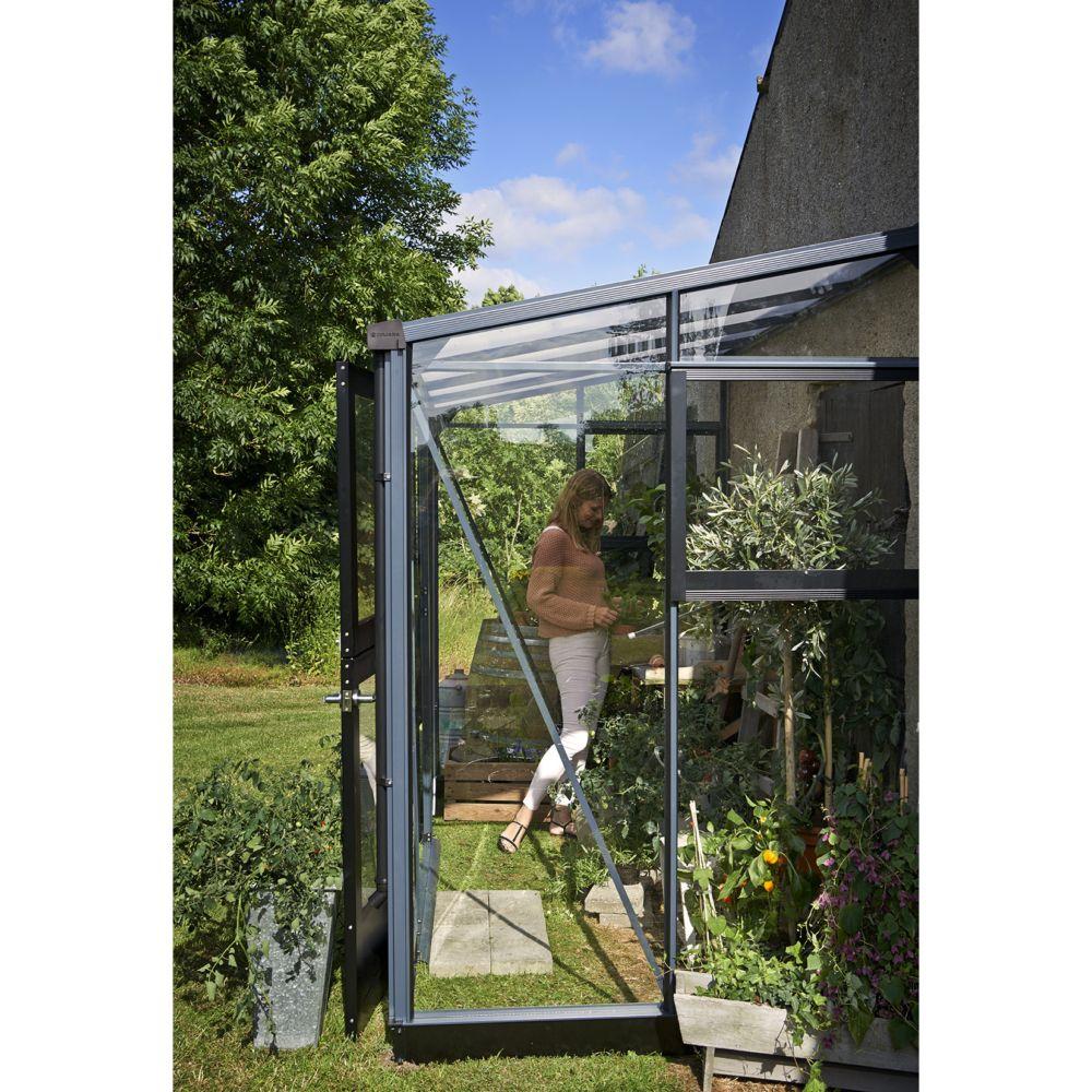 Serre de jardin adossée Veranda 4.4 m² - Anthracite - Juliana Palette - Merci de vérifier la ...