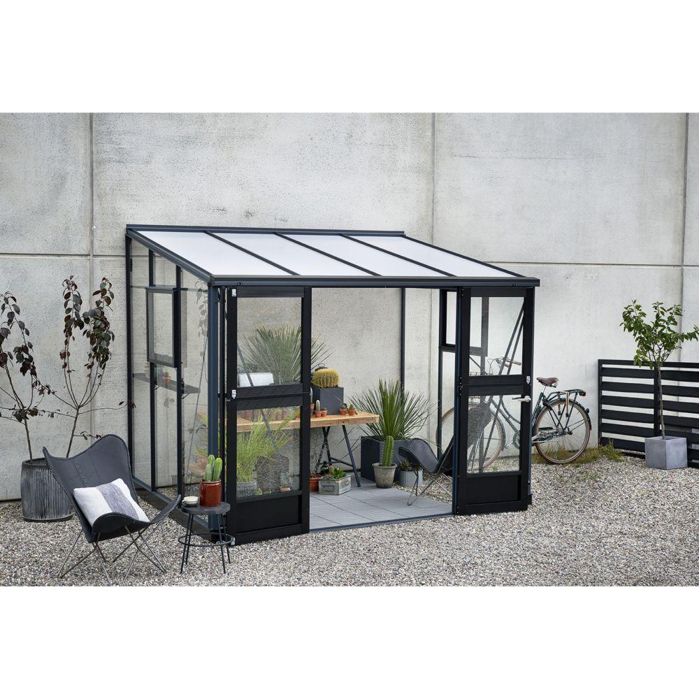Serre de jardin adossée Veranda 6.6 m² - Anthracite - Juliana - Gamm Vert