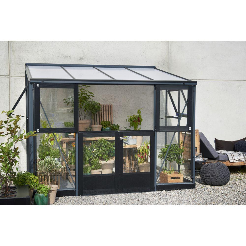 serre de jardin adoss e veranda 6 6 m anthracite. Black Bedroom Furniture Sets. Home Design Ideas