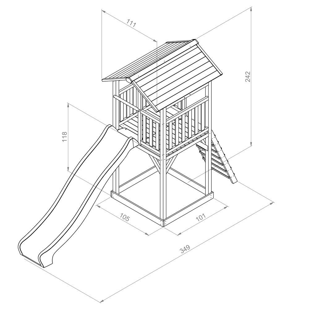 station de jeux bois toboggan beach tower 120 x 210 x 50. Black Bedroom Furniture Sets. Home Design Ideas