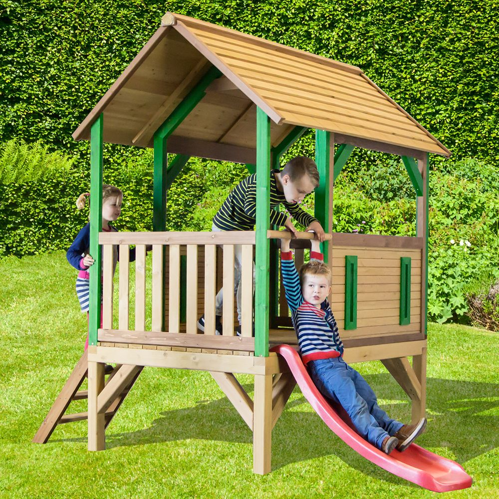 maisonnette enfant bois toboggan akela 120 x 210 x 50 cm gamm vert. Black Bedroom Furniture Sets. Home Design Ideas