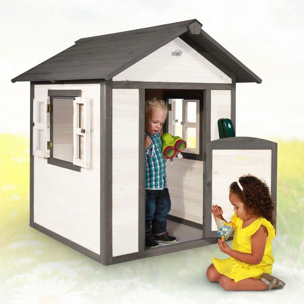 Maisonnette enfant bois Lodge blanc