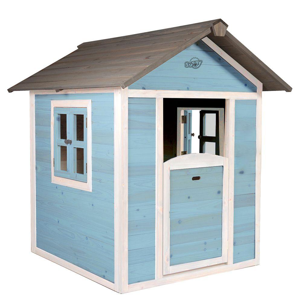 Maisonnette enfant bois Lodge bleu