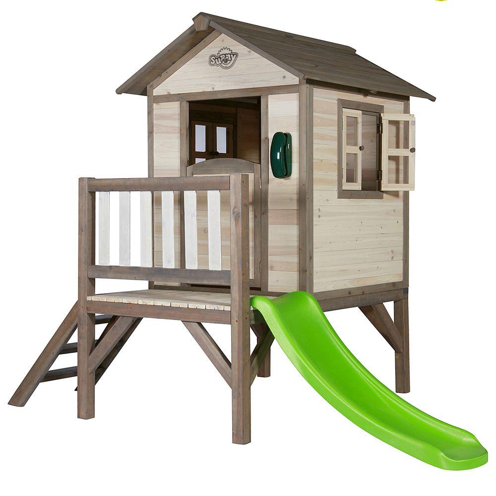 maisonnette enfant bois sur pilotis toboggan lodge naturel colis 1 102x141x18 cm colis 2. Black Bedroom Furniture Sets. Home Design Ideas