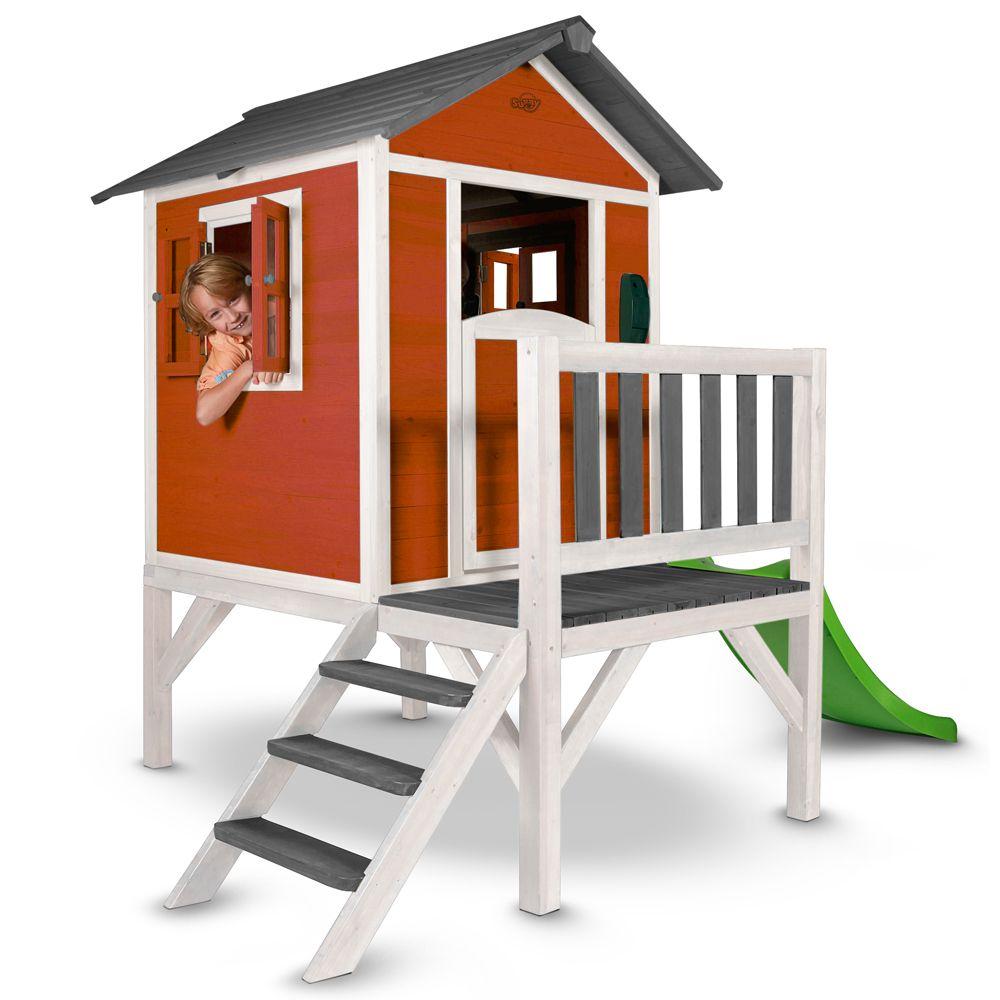 maisonnette enfant bois sur pilotis toboggan lodge rouge colis 1 102x141x18 cm colis 2. Black Bedroom Furniture Sets. Home Design Ideas