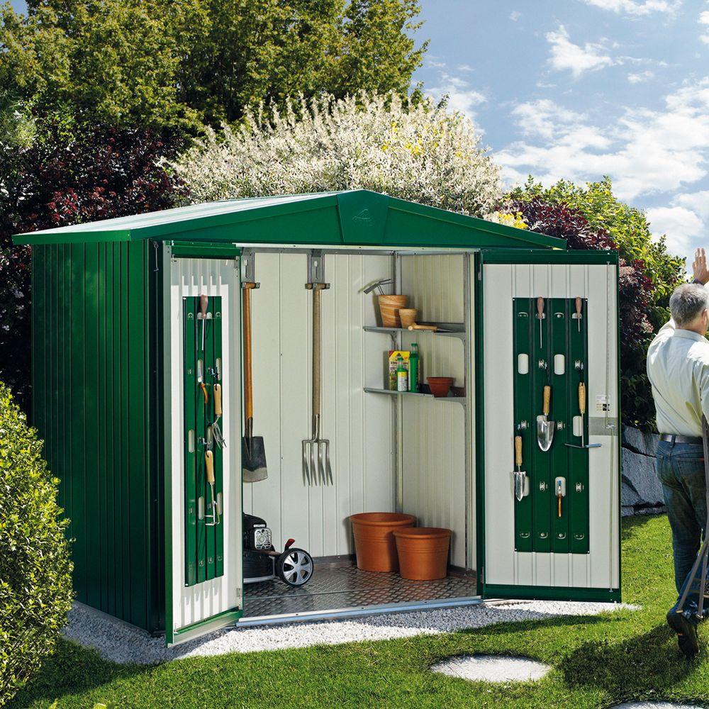 abri de jardin m tal 5 56 m ep 0 53 mm europa 4 biohort vert fonc 244x228x203 cm gamm vert. Black Bedroom Furniture Sets. Home Design Ideas