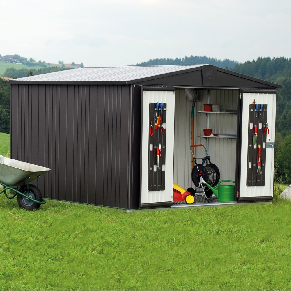 abri de jardin m tal m ep 0 53 mm europa 7 biohort gris fonc 316 x 300 x 209 cm gamm vert. Black Bedroom Furniture Sets. Home Design Ideas