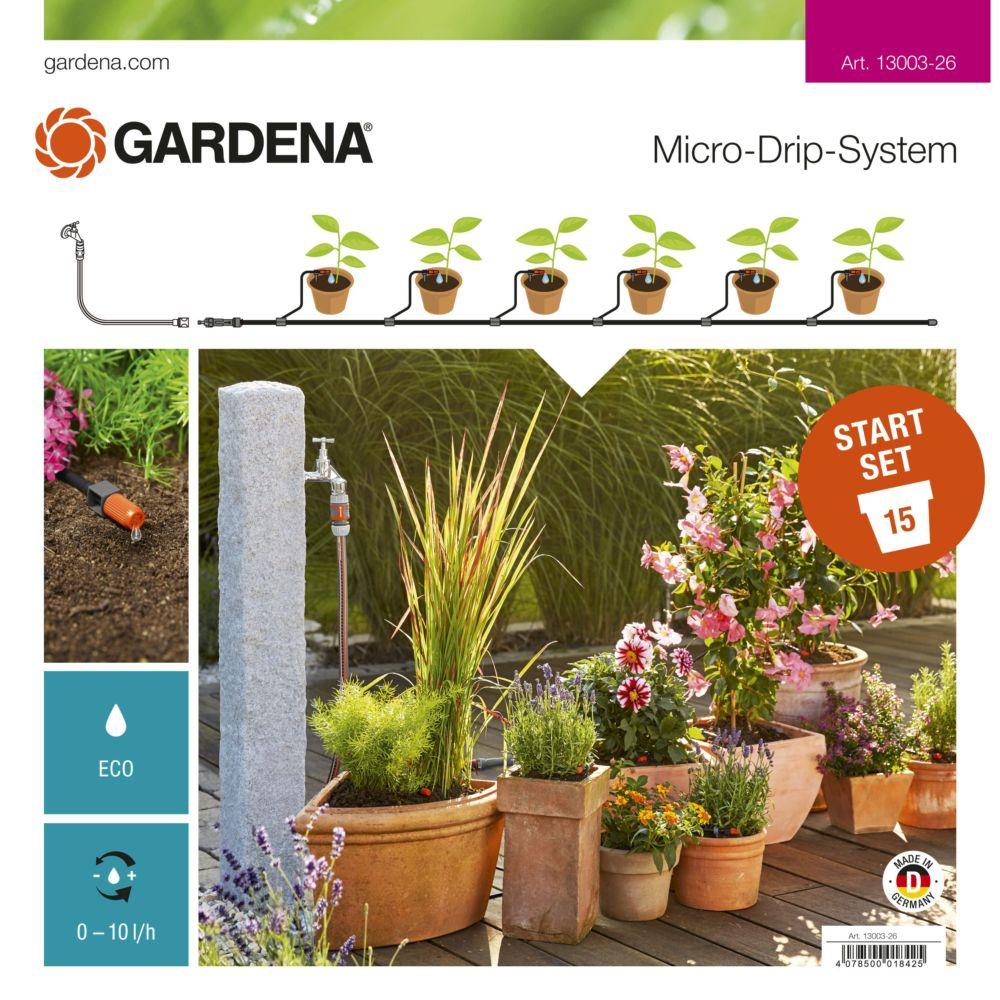 kit micro-drip system gardena pour plantes en pots carton - gamm vert