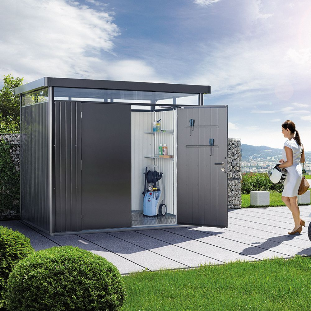 abri de jardin m tal double porte 5 36 m ep 0 53 mm highline biohort gris fonc 275x195x222 cm. Black Bedroom Furniture Sets. Home Design Ideas