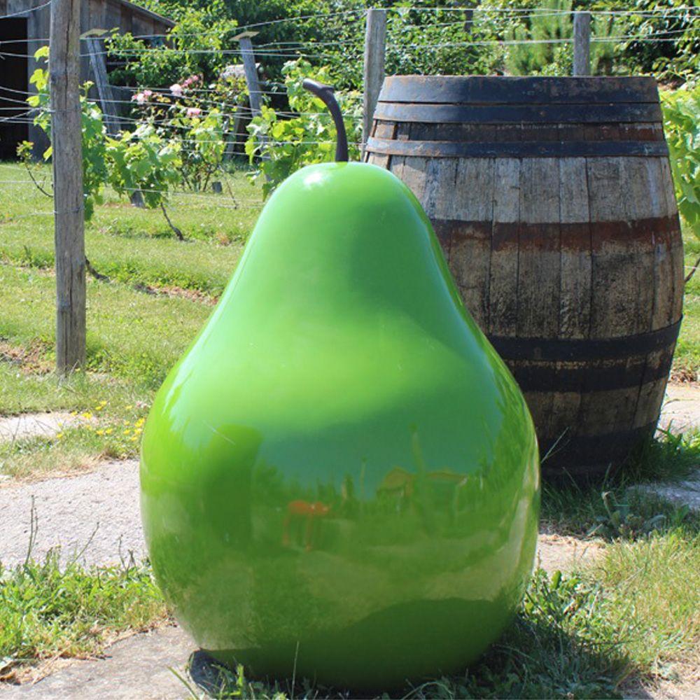 Poire décorative XXL L60 H46 cm résine vert