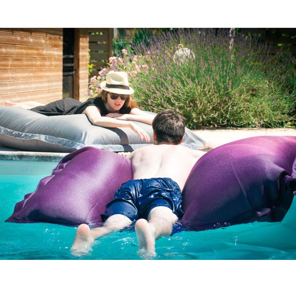 Coussin géant waterproof L125 l175 cm aubergine