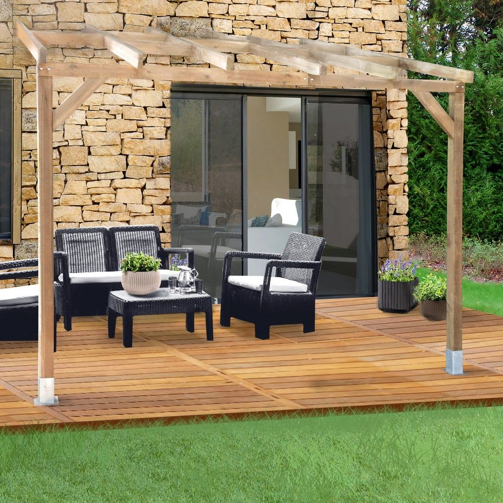 pergola adoss e bois trait 3x3 m 3 01 x 0 47 x 0 22 m 0 30 x 0 20 x 0 17 m gamm vert. Black Bedroom Furniture Sets. Home Design Ideas