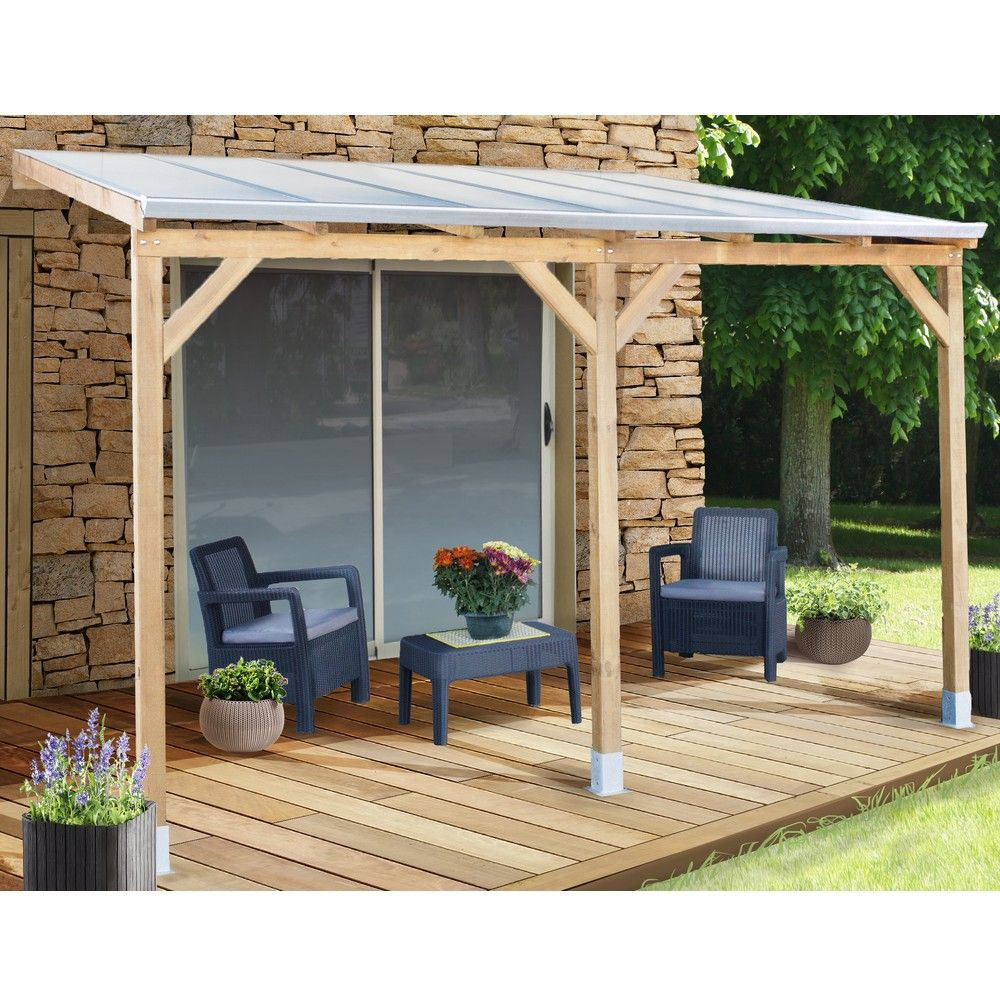 pergola adoss e bois trait toiture polycarbonate 3x3 7 m. Black Bedroom Furniture Sets. Home Design Ideas