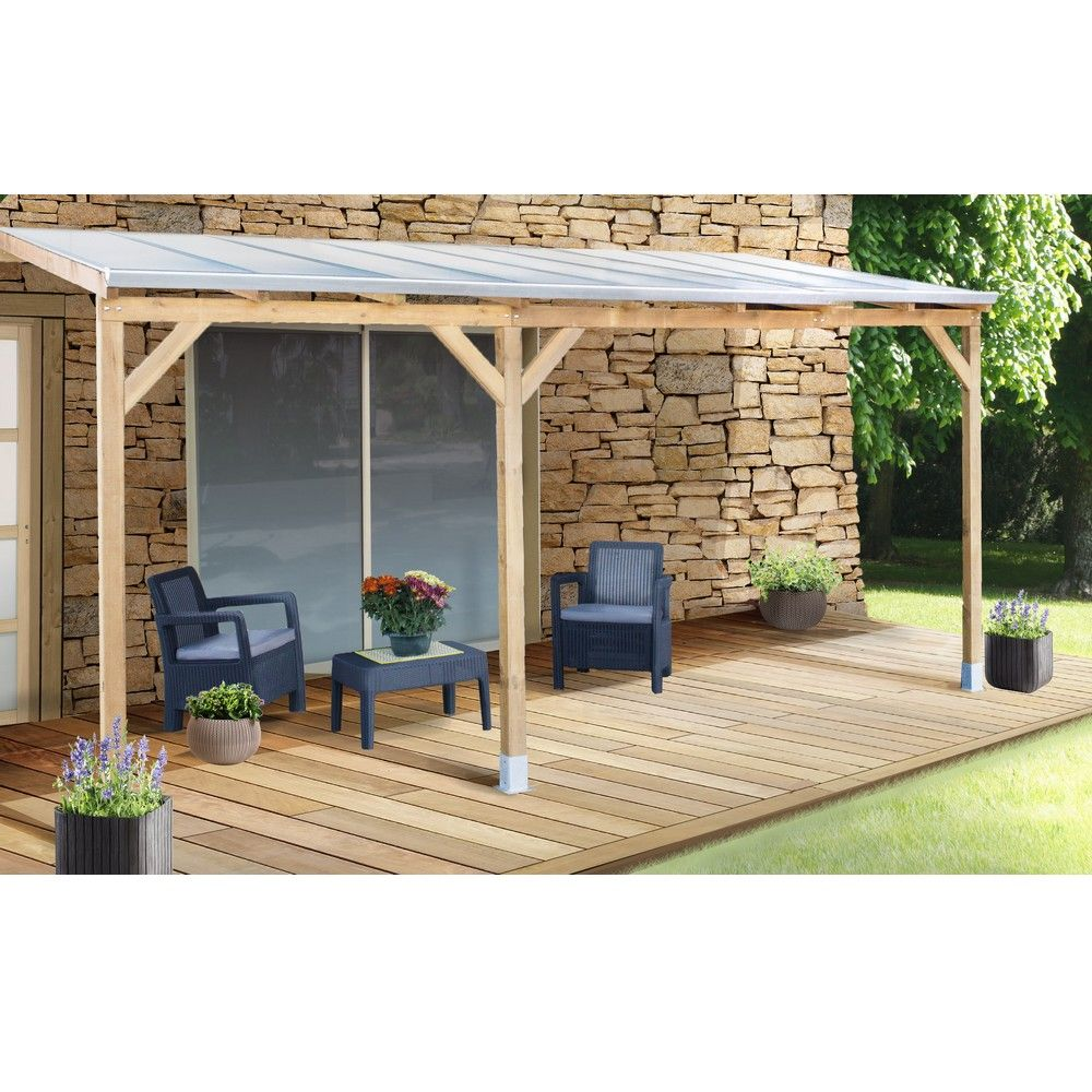 pergola adoss e bois trait toiture polycarbonate 3x4 9 m. Black Bedroom Furniture Sets. Home Design Ideas