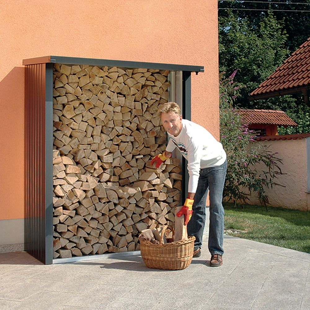 Abri b ches m tal biohort woodstock 1 8 st res gris fonc - Range buche metal ...
