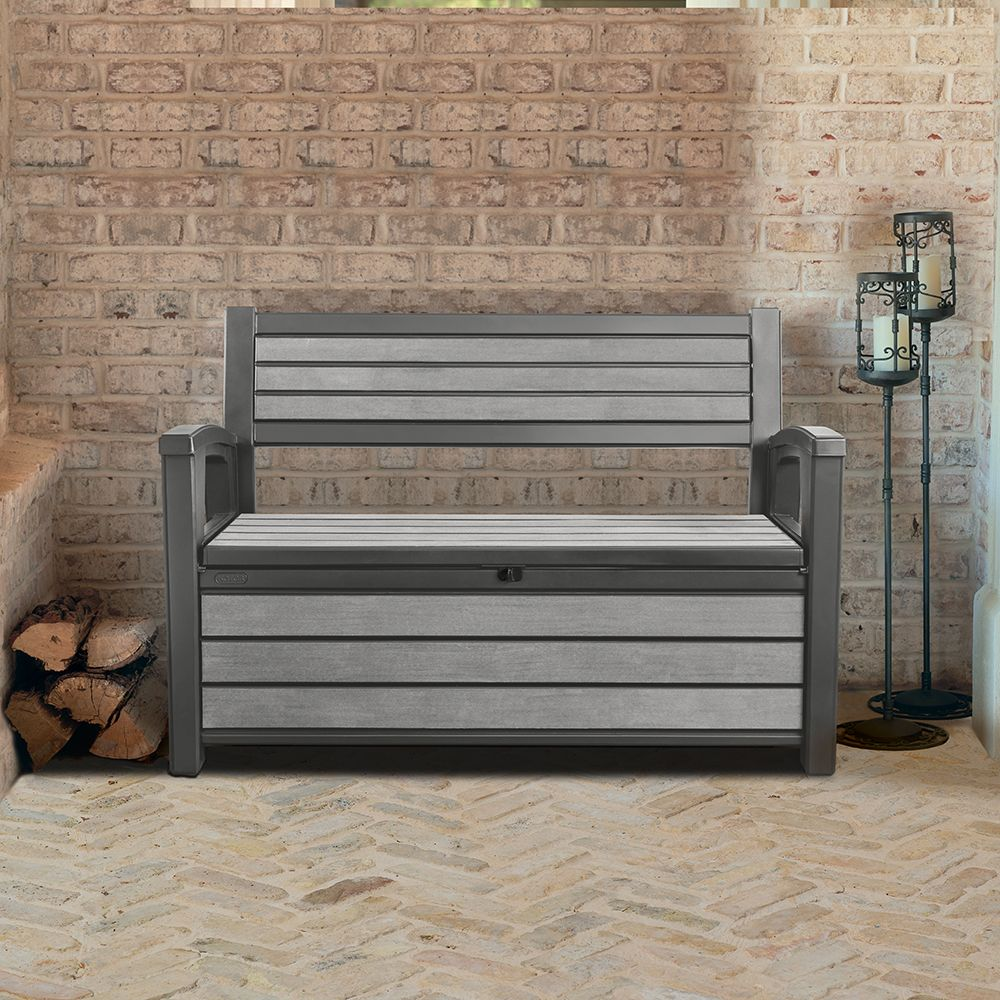 coffre banc de jardin en r sine brossium 227l gris colis. Black Bedroom Furniture Sets. Home Design Ideas