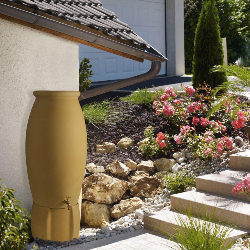 Récupérateur d'eau BELLIJARDIN beige en jarre avec socle 235 L