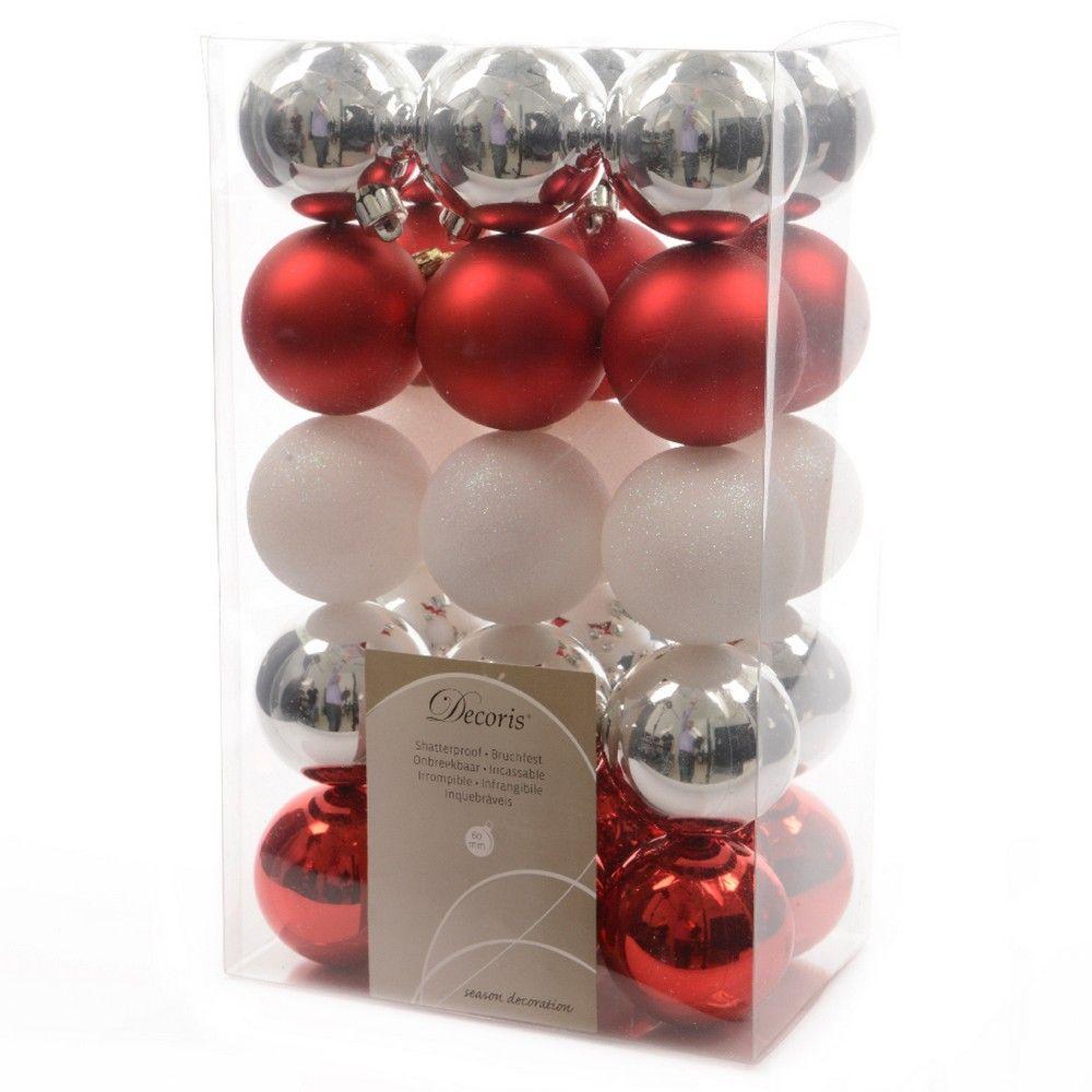 Pack de 30 boules unies Merry Mix Rouge et Argent