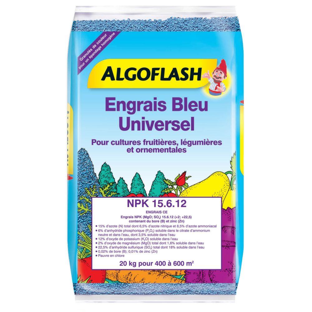 Engrais bleu universel pour cultures fruitières, légumières et ornementales 20 kg – Algoflash