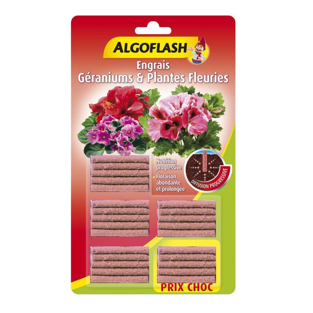 Engrais géraniums et plantes fleuries 25 bâtonnets – Algoflash
