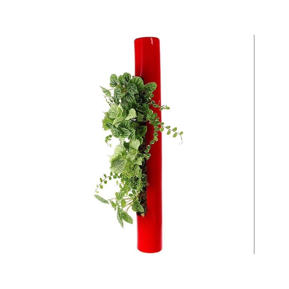 Décoration murale végétale tube Céramic rouge