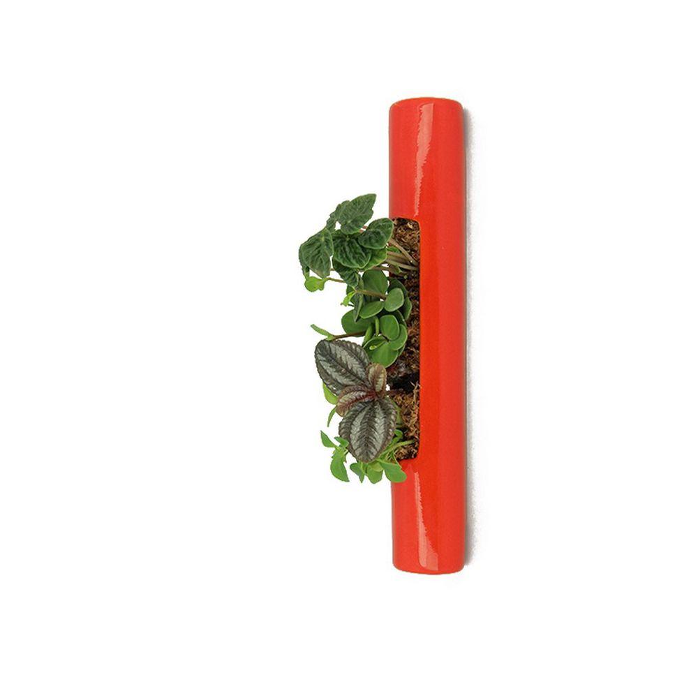 Décoration végétale Flowerbox Totem 40 cm rouge