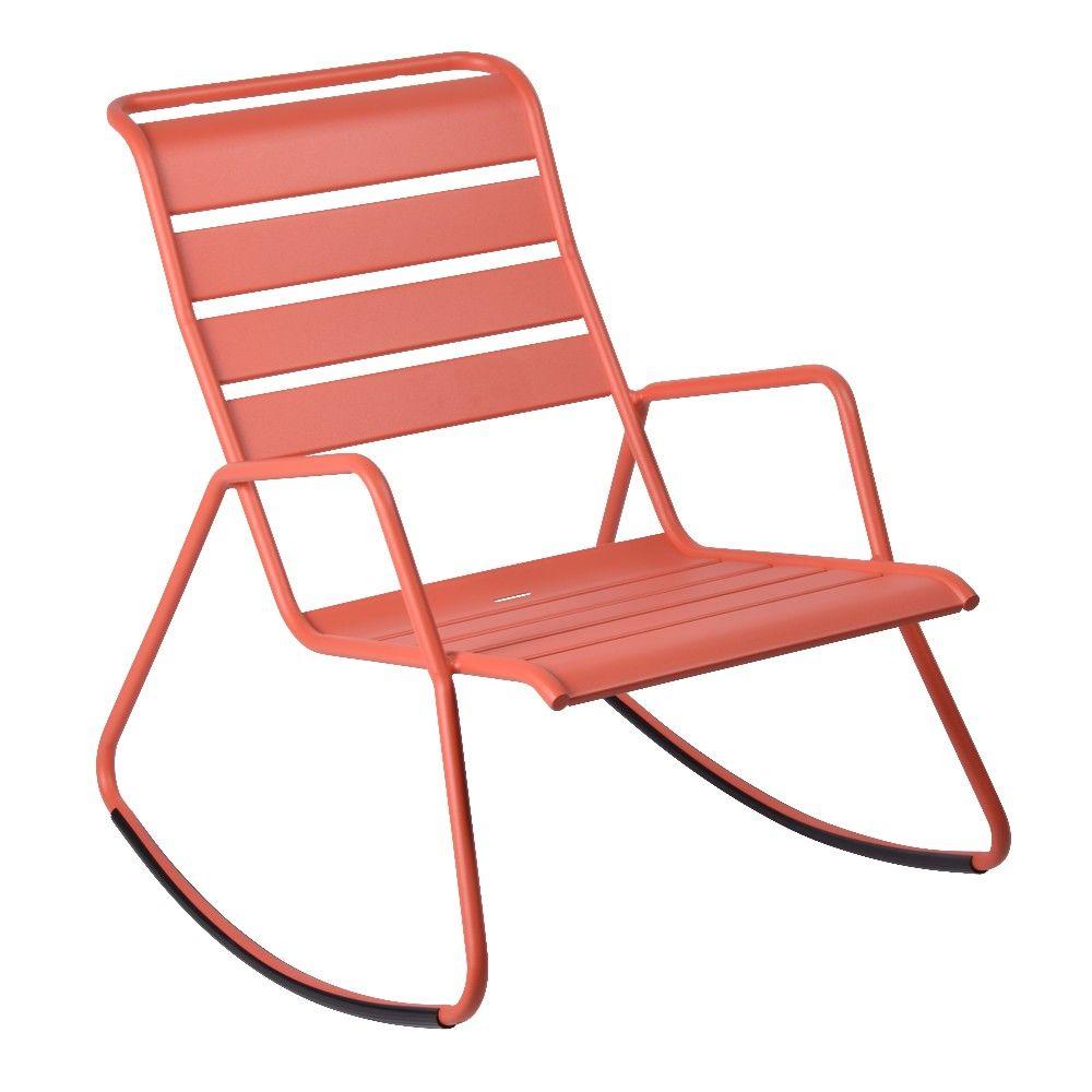 Fauteuil rocking chair fermob acier capucine h 78 x l 90 x for Rocking chair exterieur