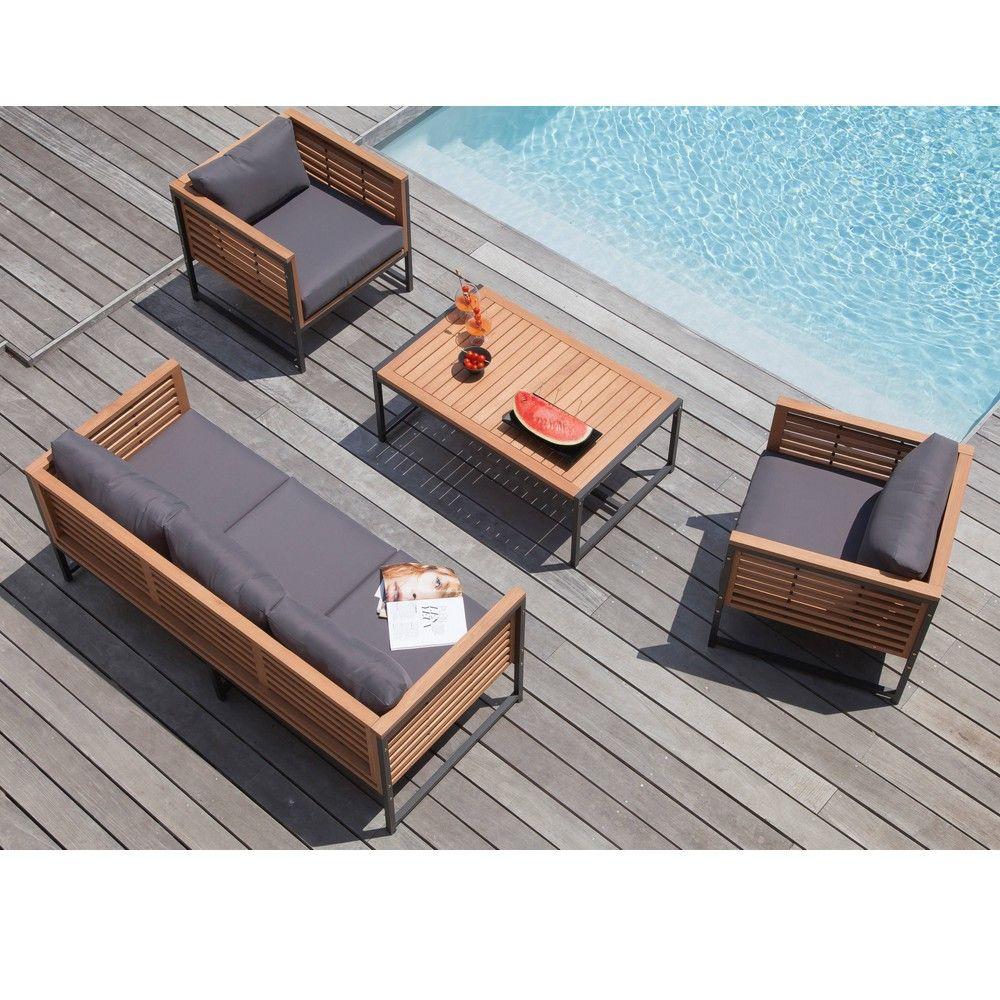 Salon de jardin bas Végas aluminium/bois : 1 canapé + 2 fauteuils + ...