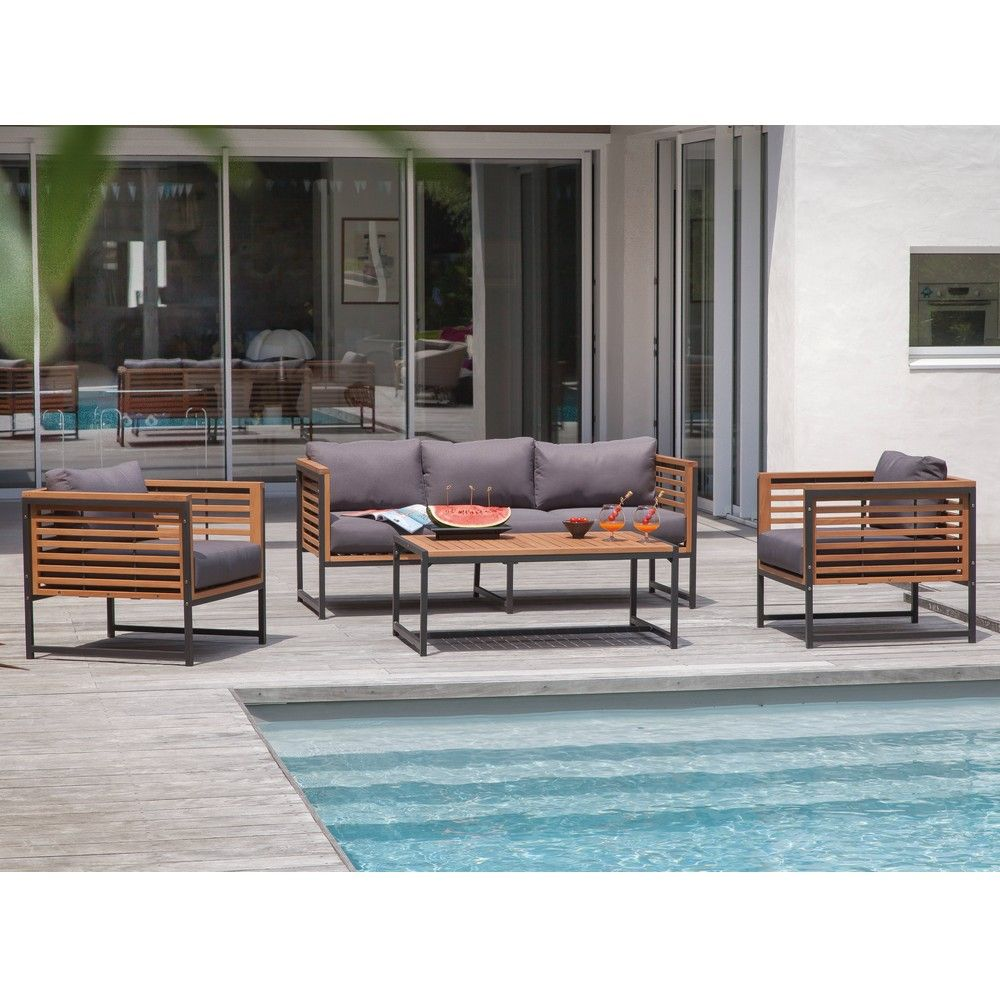 salon de jardin bas v gas aluminium bois 1 canap 2 fauteuils 1 table gamm vert. Black Bedroom Furniture Sets. Home Design Ideas