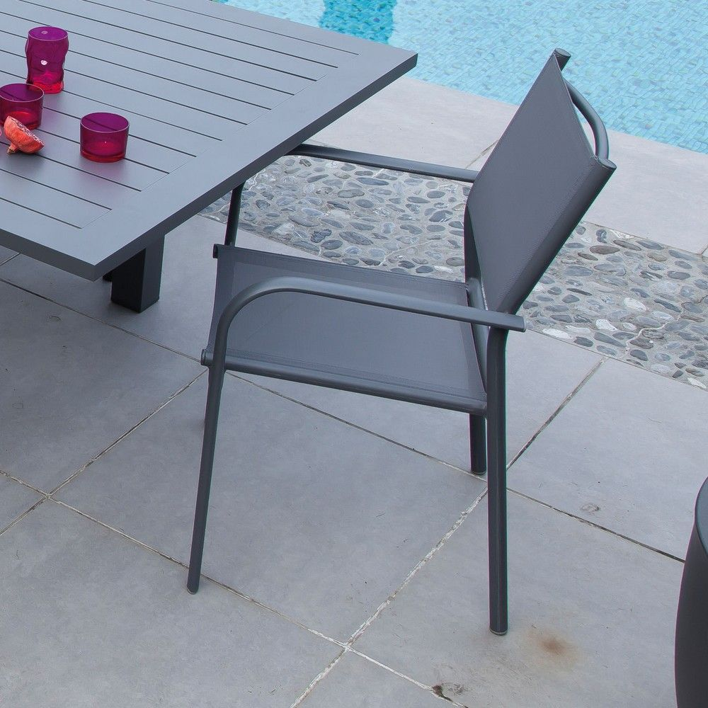 fauteuil duca aluminium textil ne gris gamm vert. Black Bedroom Furniture Sets. Home Design Ideas