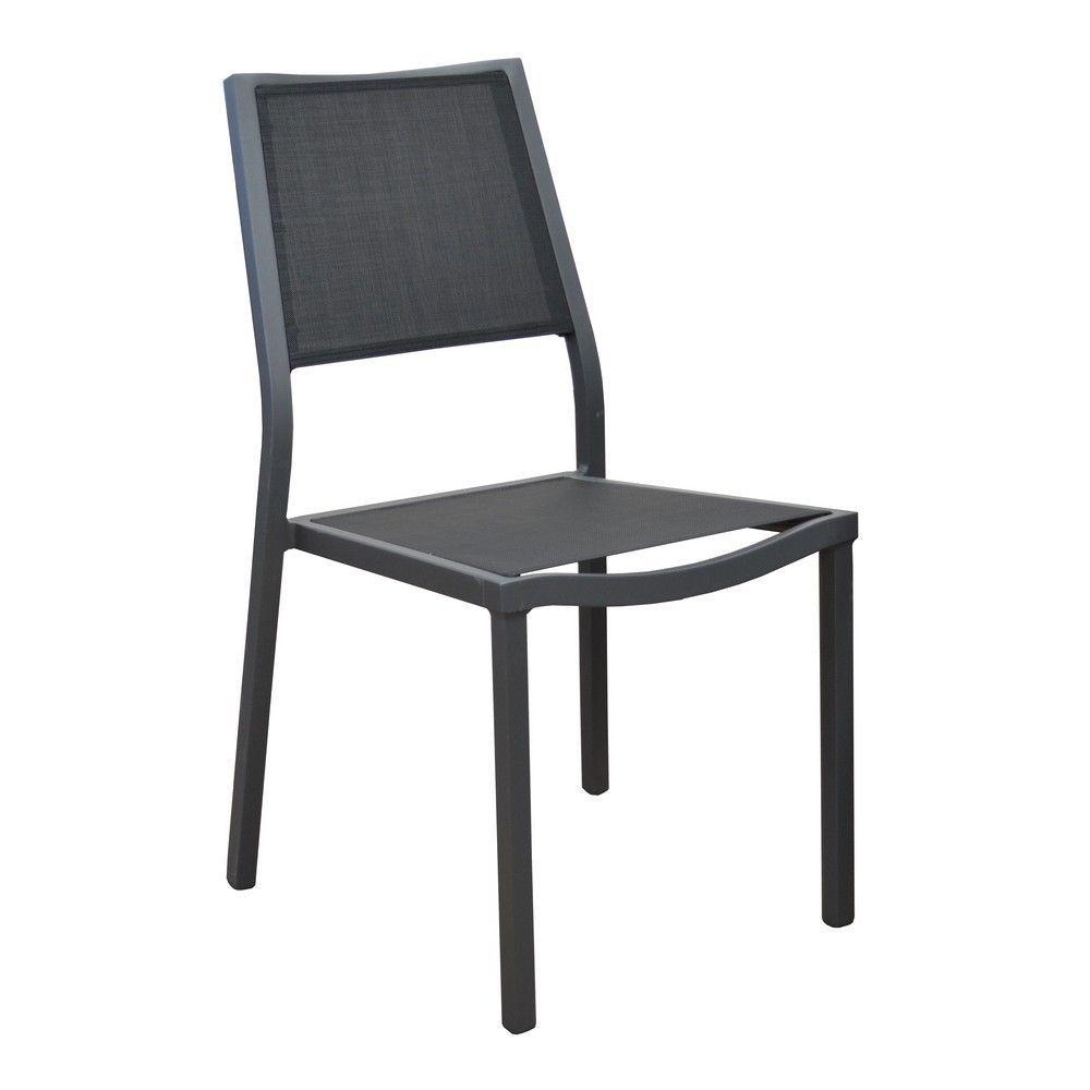 Chaise Florence aluminium/textilène noir