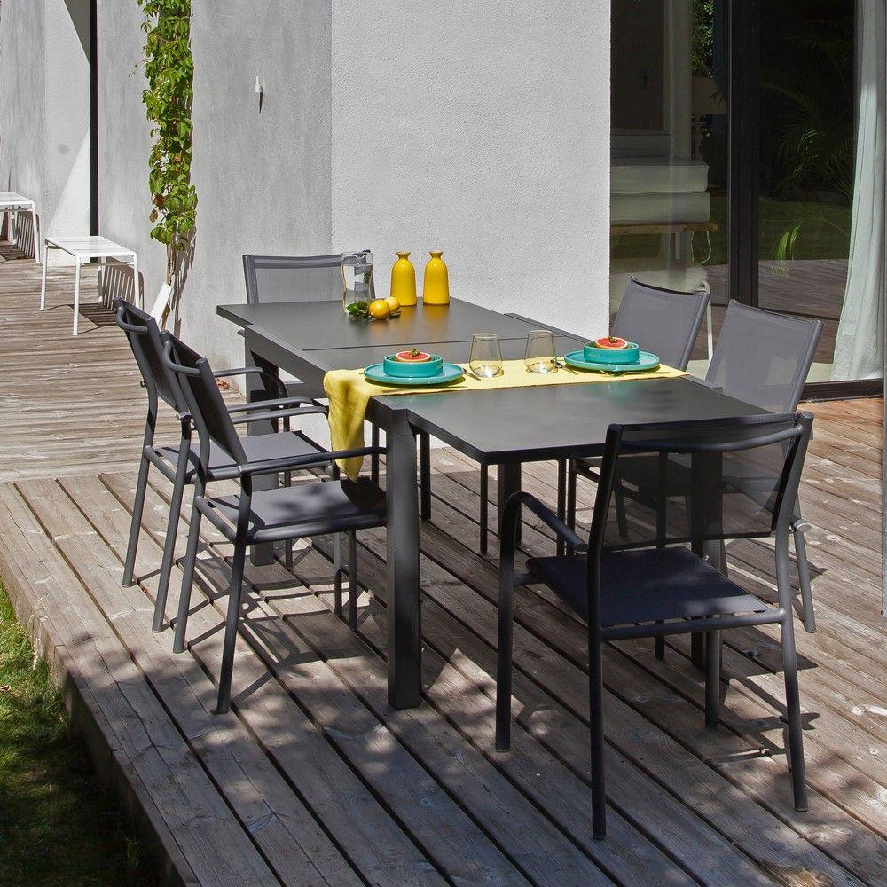 Table de jardin Elise l140/240 L90 cm aluminium/verre gris H 12 x l ...
