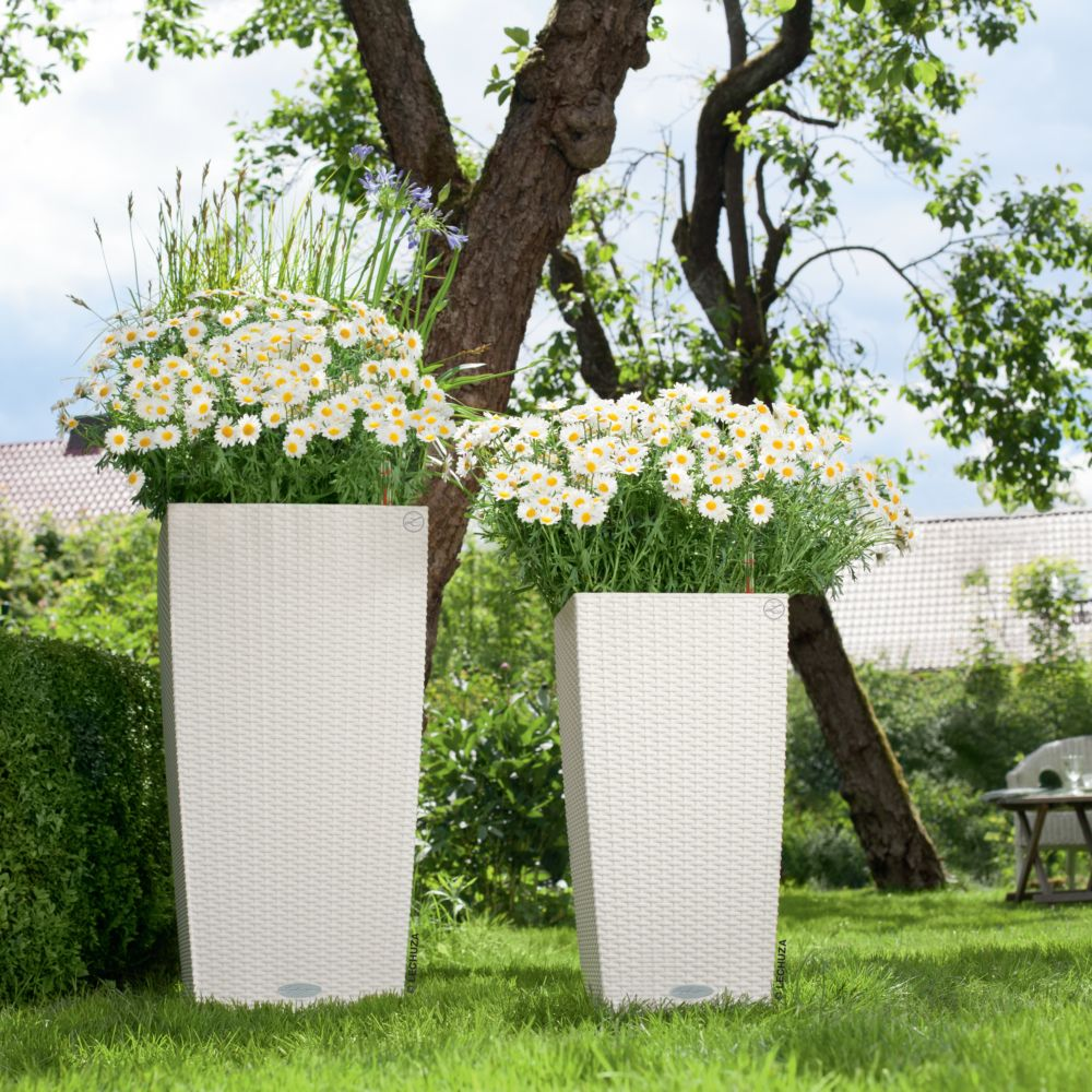 Pot Lechuza Cubico Cottage L30 H56 cm blanc
