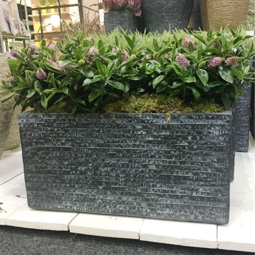 Bac à fleurs fibre de terre Utah L80 H40 cm graphite
