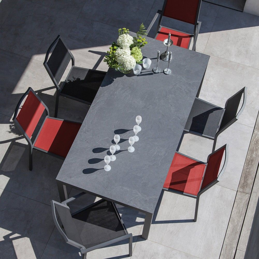 table de jardin soto aluminium hpl l180 l90 cm gris gamm vert. Black Bedroom Furniture Sets. Home Design Ideas