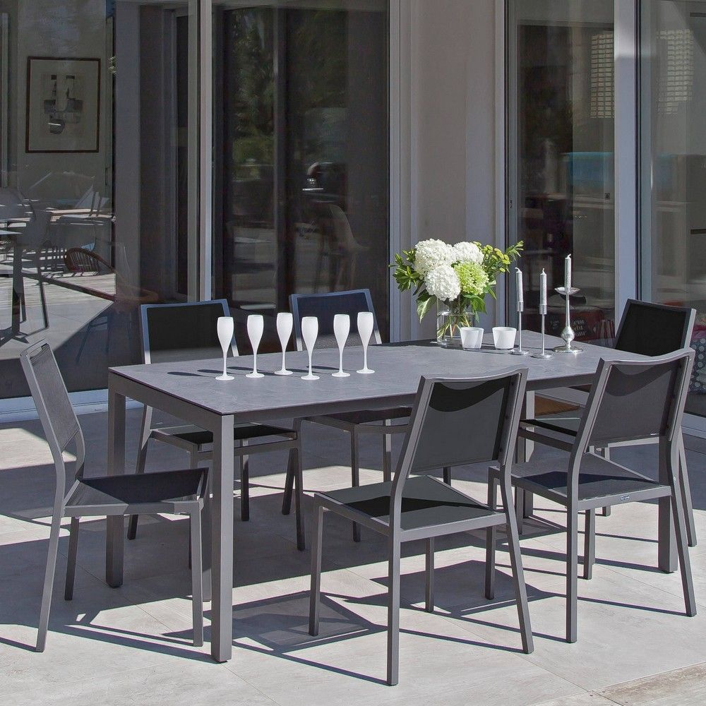 Table de jardin Soto aluminium/HPL l180 L90 cm gris - Gamm Vert