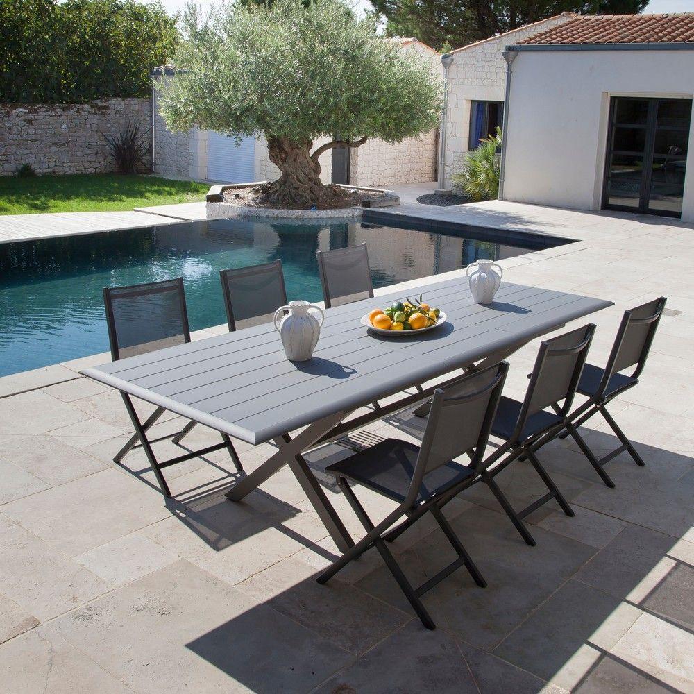 Table de jardin Bridge l220/280 L100 cm aluminium gris - Gamm Vert
