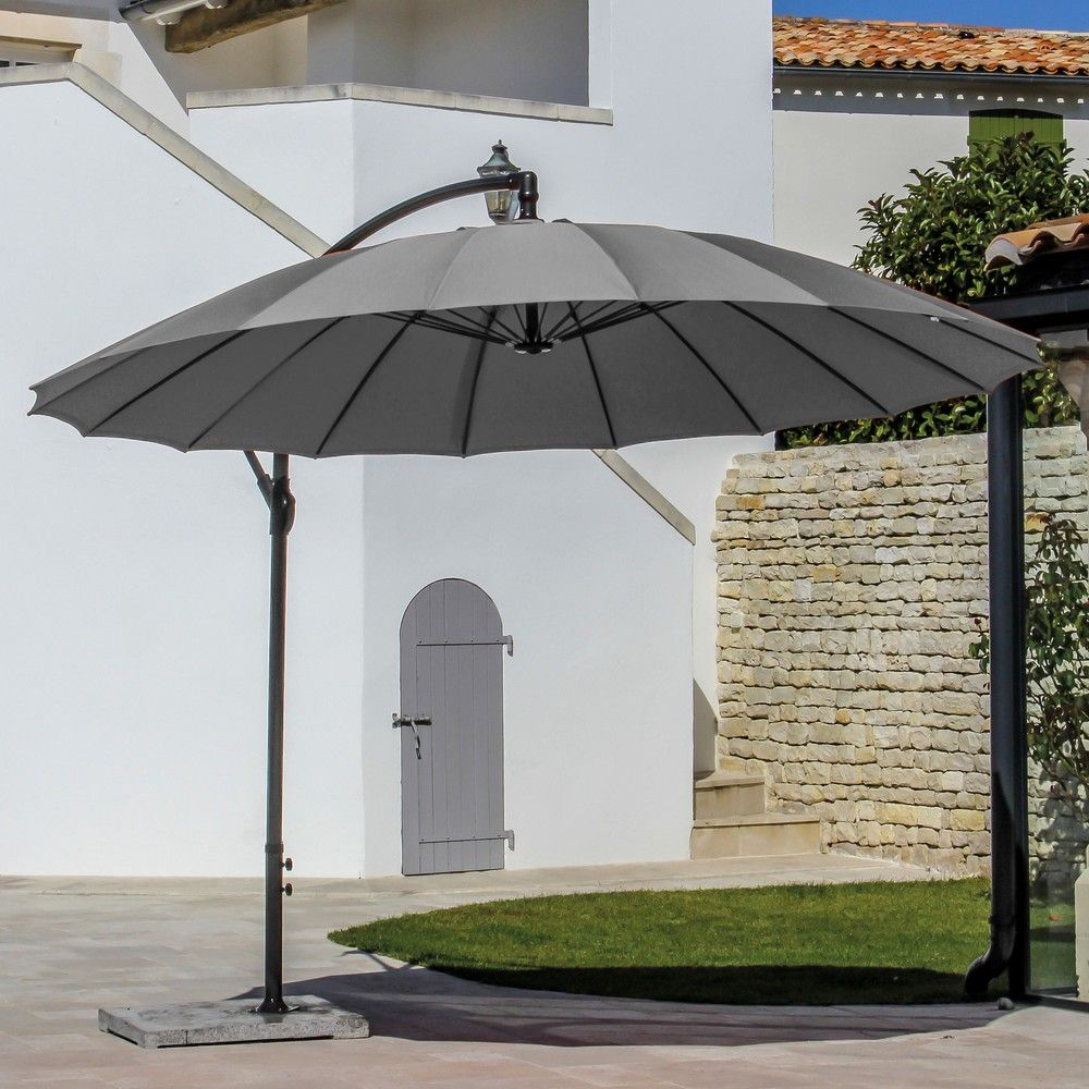 parasol d port inclinable pagode aluminium 300 cm gris. Black Bedroom Furniture Sets. Home Design Ideas