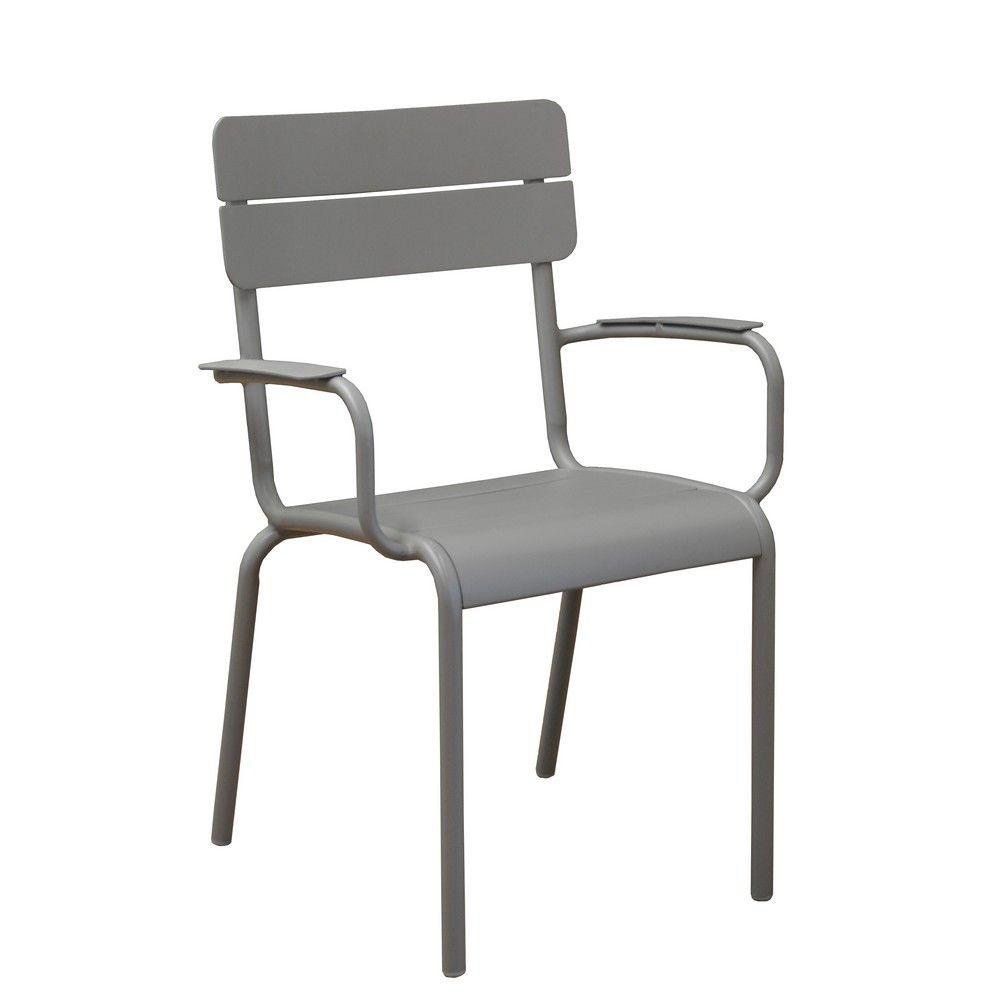 Lot de 2 fauteuils Ecole aluminium taupe