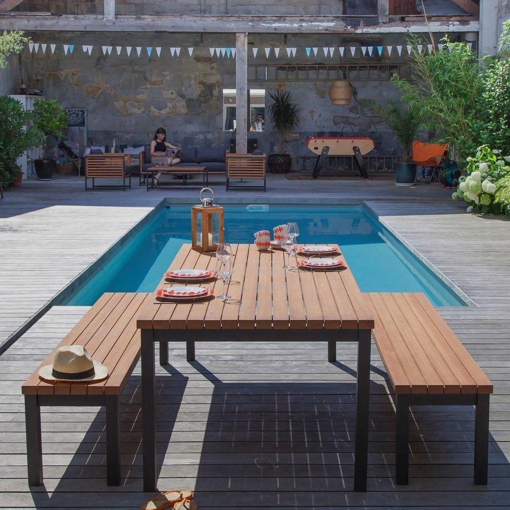 Table de jardin Vegas l210 L90 cm aluminium/bois - Gamm Vert